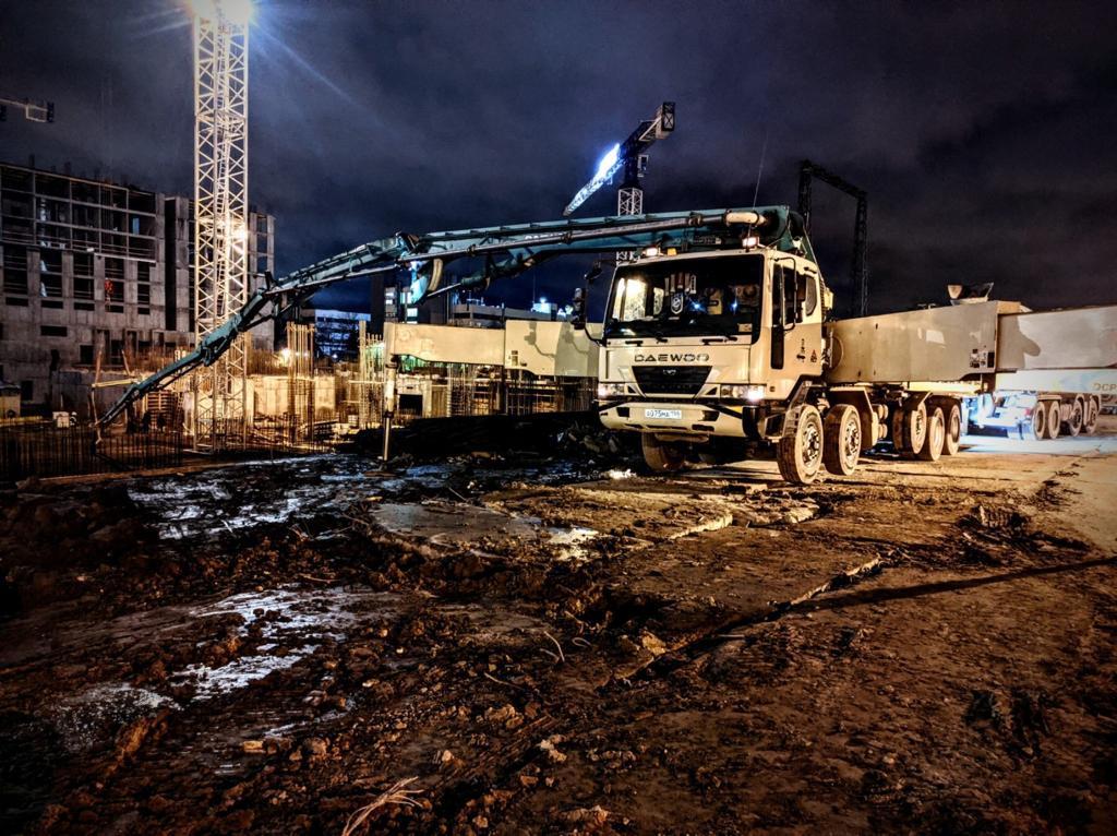 Ночное бетонирование АБН 53 метра